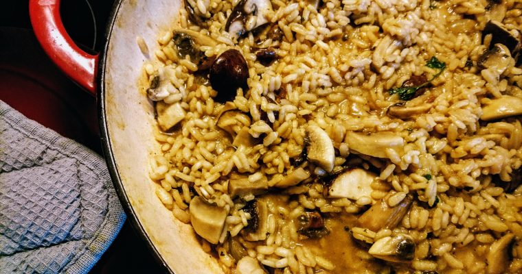 Toddler approved, vegan mushroom risotto