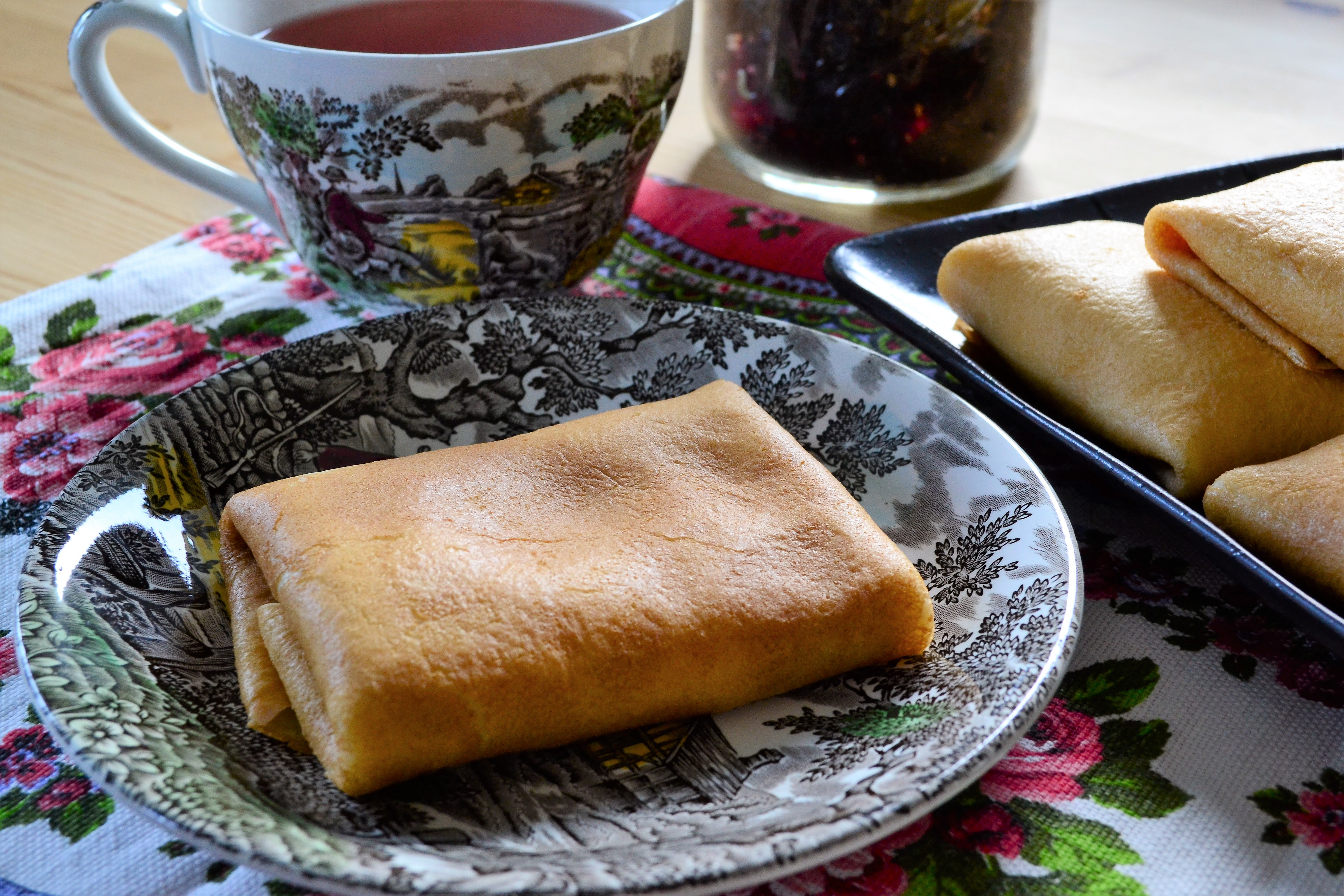 Russian Style Crepes Filled With Sweet Farmer's Cheese