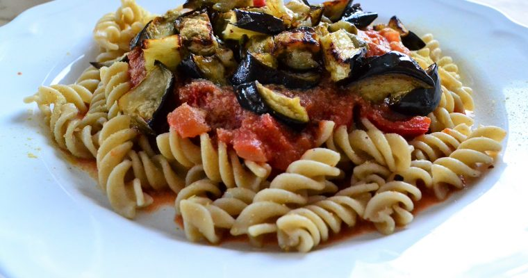 Vegan pasta with vodka sauce and roasted aubergine.