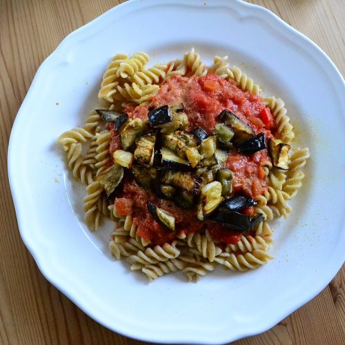 fusili with aubergine in vodka sauce